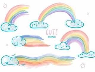 可爱的云彩水彩彩虹矢量图