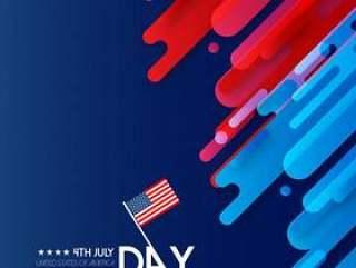 美国独立日卡与创意设计矢量