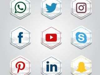 六角形社交媒体集合