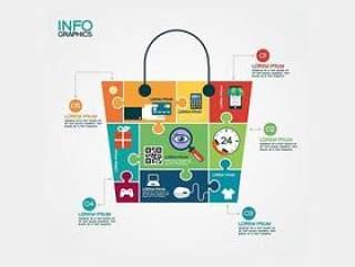 拼图购物袋商务信息图