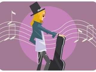 吉他弹奏者女孩传染媒介