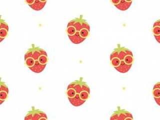 草莓穿太阳镜无缝图案背景