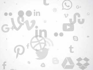 在灰色的颜色社交媒体图标的清洁背景