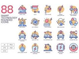 88智能技术圆形图标包括城市,家庭,能源,互联网等,88智能技术圆形