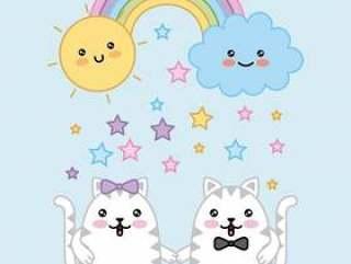 Kawaii夫妇猫彩虹云彩太阳动画片