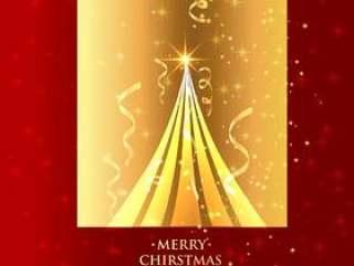 美丽的圣诞树在金色的背景中