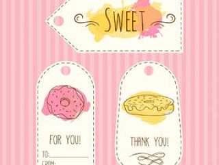 标签与甜甜圈的插图。矢量手绘标签设置水彩溅起。甜酥皮点心