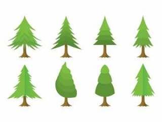 卡通圣诞树矢量包