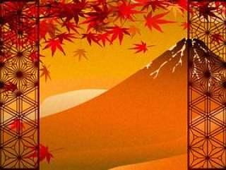 秋天的树叶和金箔叶风红富士