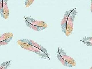 复古浅蓝色和粉红色的羽毛无缝模式