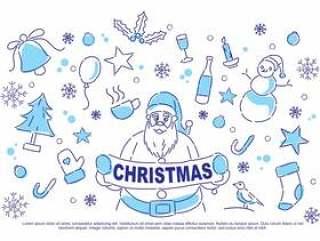 圣诞节涂鸦矢量图