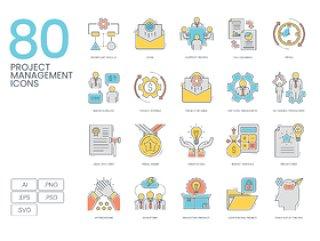 80项彩色线矢量图标项目管理,80项目管理颜色线图标