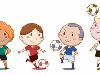 可爱的足球运动员的卡通插图。