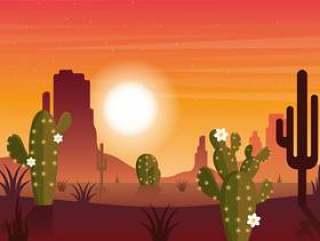 矢量沙漠风景插画