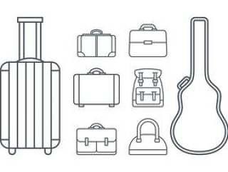 案例和行李图标矢量
