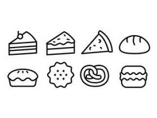 面包和面包店图标集