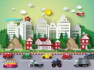 大城市生活场景折纸风格矢量插画素材下载