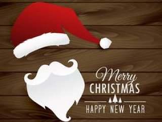 圣诞老人在木制的背景上的插图