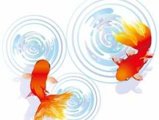 金鱼アイコン背景夏色水面和风和柄壁纸装饰
