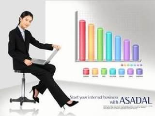 商务人物数据图表PSD分层素材