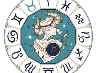 The Taurus zodiac sign as a beautiful girl.