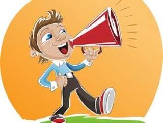 动漫人物形象 拿着扬声器呼喊的男孩 扬声器 呼喊 卡通