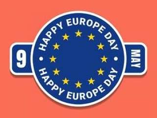 5月9日欧洲日与标志的蓝色标签