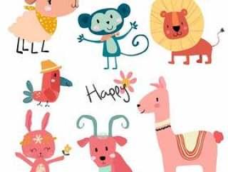 可爱的卡通野生动物字符集