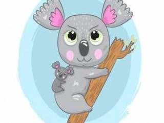 与婴孩动画片图画的逗人喜爱的树袋熊