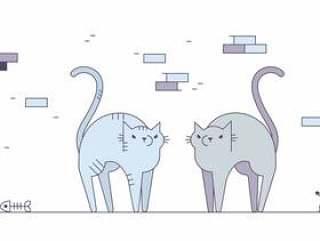 的愤怒的猫矢量