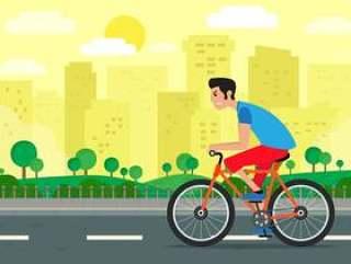骑自行车背景例证的男孩