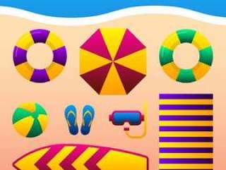 暑假假期配件在沙滩上的插图。