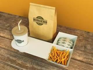 国外优秀品牌提案贴图模板 薯条 打包袋 汉堡 木纹 快餐食品