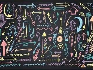 黑板艺术箭头各种柔和的颜色