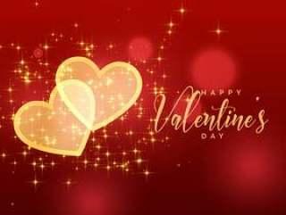 金色闪闪发光的红色背景上的情人节#x27; s天的心