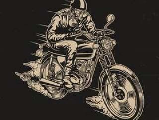 男子骑摩托车矢量图
