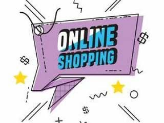 购物在线商业标签矢量插图设计