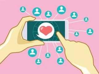 举行智能手机与约会聊天