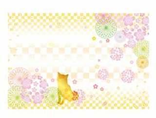 日本纸_方格图案_樱花芝犬犬inu