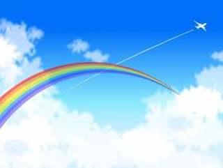 飞机云彩和彩虹