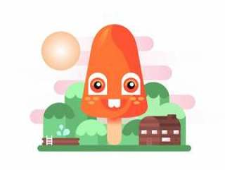 夏天冰棍友好橙色山平插图矢量