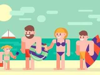 家庭度假假期平面插画矢量2