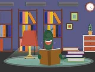 在客厅例证的自由书痴读书