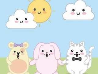 Kawaii兔子老鼠和猫动画片云彩和太阳