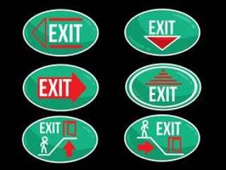 紧急出口椭圆形标志