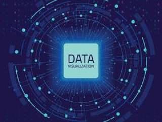 数据图形可视化。大数据分析可视化与线条,点和箭头元素矢量素材下载