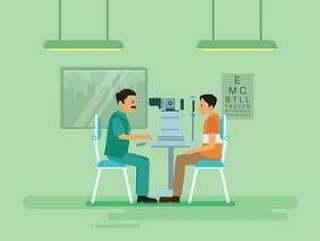 做眼睛测试与机器例证的自由眼科医生