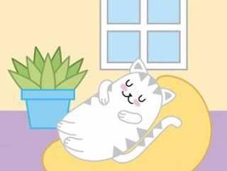睡觉在坐垫动物动画片的Kawaii猫