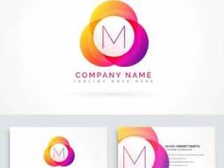 字母M标志与名片模板