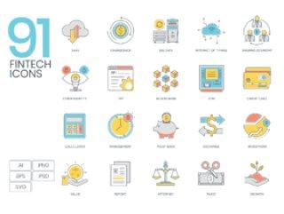91金融科技产业的彩色线图标,91 Fintech彩色线图标